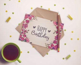 PDF PRINTABLE CARD Card happy birthday with flowers. Size A5 (148x210mm)