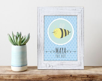 """POSTER PDF PRINTABLE - Maya The Bee - poster for children. Size 8,2 x 11,7"""""""