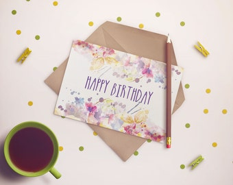 PDF PRINTABLE CARD Card happy birthday. Size A5 (148x210mm)