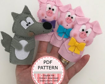 Felt Puppets Digital PDF Pattern / Sewing Pattern / Tutorial with Pictures - The Three Little Pigs and the Wolf Puppets