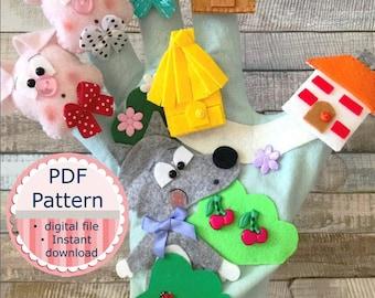 Felt Glove: The 3 Little Pigs / Digital Pdf Pattern / Sewing Pattern