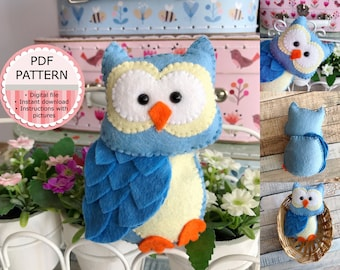PDF Pattern / Sewing Pattern / Felt Pattern - The Owl