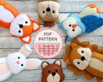 Digital Pdf Pattern/Sewing Pattern/Doll Making/Felt Doll - The Woodland Animals