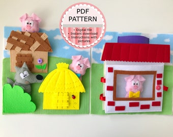 The Three Little Pigs - 2 Quiet Book Pages/ PDF Pattern & Tutorial / Sewing Pattern