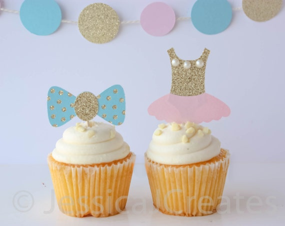 Gender Reveal Cupcake Toppers Gender Reveal Party Gender Reveal