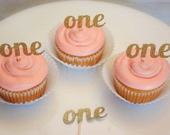 Gold Glitter Cupcake Toppers - Birthday Cursive Cupcake Toppers - Glitter Number Cupcake Toppers