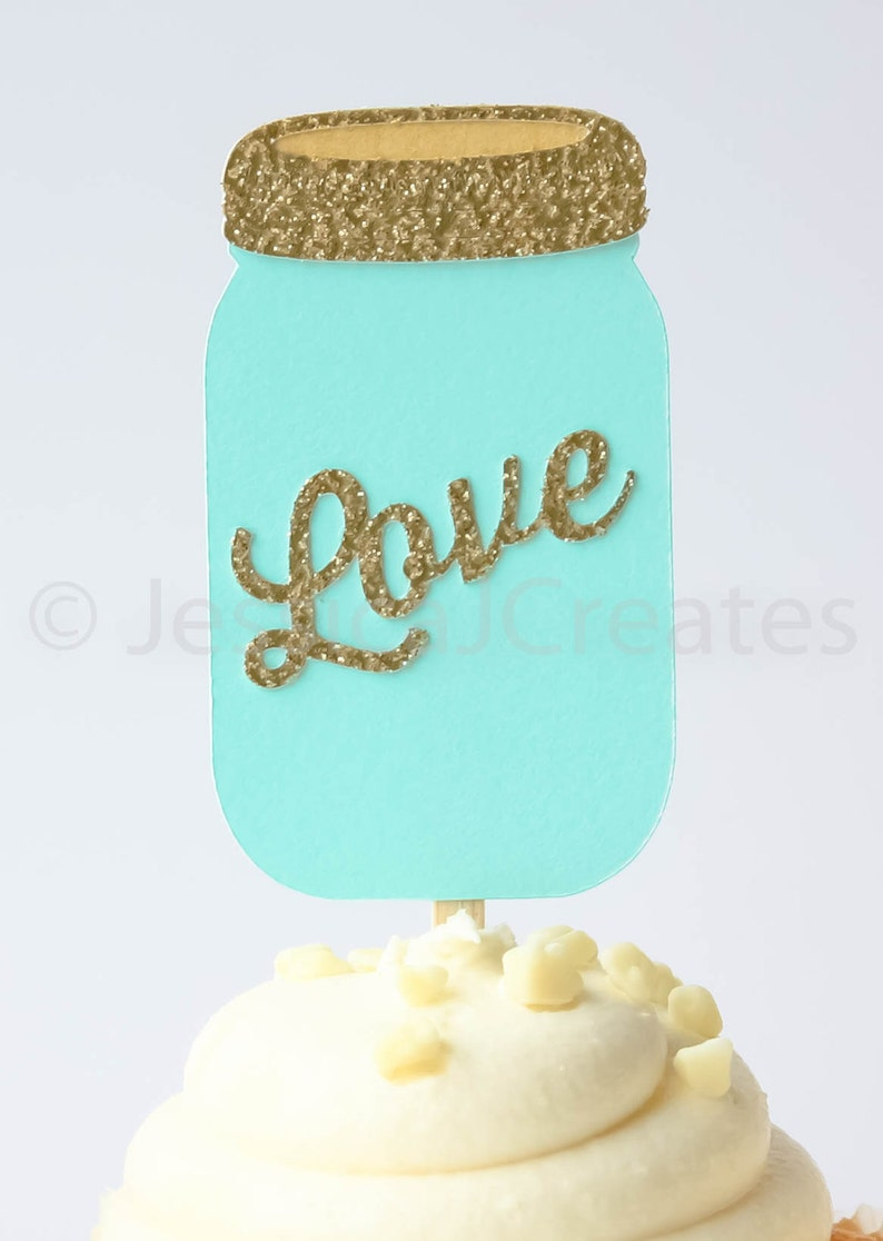 Mason Jar Cupcake Toppers Cupcake Toppers Gold Party Decor Bridal Shower Cupcake Toppers Rustic Party Decorations Qty 12