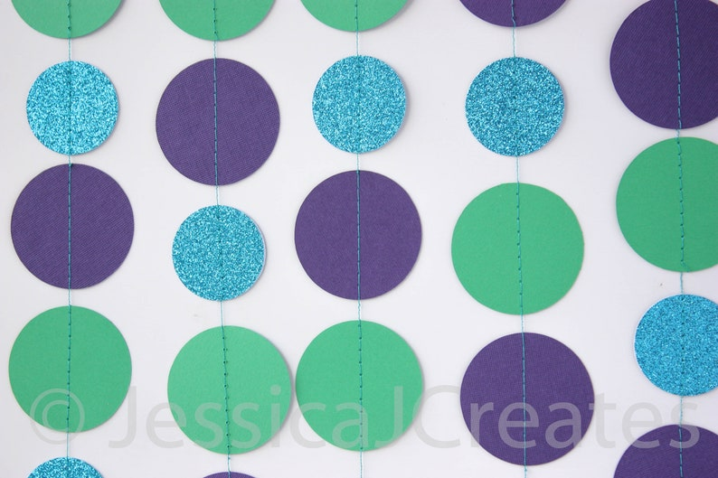 Blue and Purple Circle Garland Circle Garland Paper Garland Blue Glitter Circle Garland Photo Props Photo Prop Garland