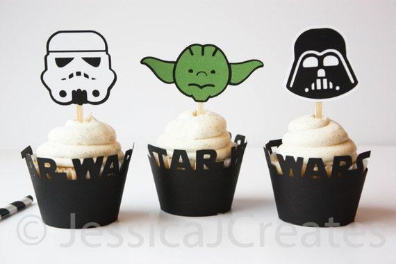Star Wars Kuchen Topper Darth Vader Cupcake Toppers Yoda Etsy