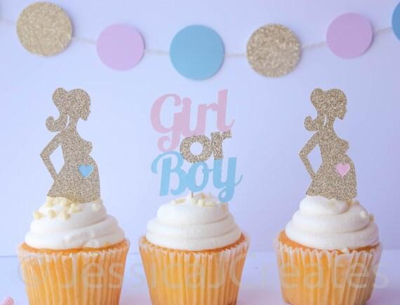 Baby Shower sexo revelan Corazón Cupcake Toppers Conjunto de 12