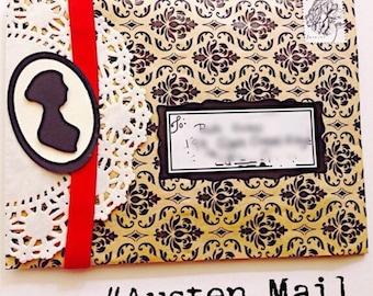 Damash flourish bag mailers , set of 4   Stationery  supply, stationery, snail mail , Jane Austen , pen friend, desk supplies , envelopes
