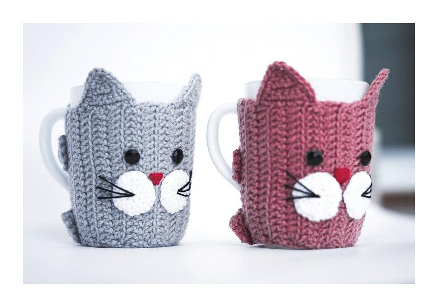 2 gatos de ganchillo calentadores de la taza Cozy Cup Copa | Etsy