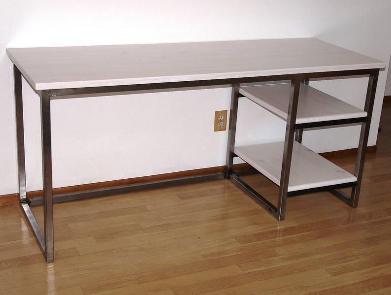 Bureau en acier industriel modern urbain bois bureau avec etsy