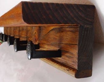 Railroad Spike Coat Rack with Shelf, Rustic Reclaimed Wood Coat Rack