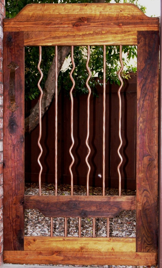 Rustic Wood Amp Wrought Iron Courtyard Gate Garden Gate Etsy