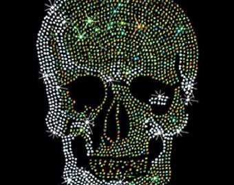 Dark Green Rhinestuds Stones Sugar Skull Day of the Dead Womens Short Sleeve Top 17128