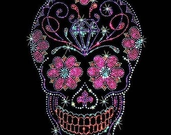 Womans SHORT Sleeve T Shirt Sparkling Rhinestones Studs Day of the Dead Sugar Skull With Roses 15467