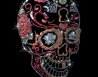 Womans LONG SLEEVE T Shirt Rhinestones Studs Day of the Dead Sugar Skull Side View 15464