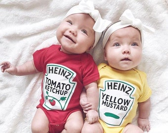 9ba8ea250 Heinz Twins Outfits, Premium Ketchup and Mustard Outfits Licensed by Heinz,  Adorable Twins Matching Set