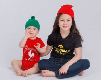 saucy sibling combo deal soy sauce sriracha outfit combo for siblings big brother little brother big sister little sister
