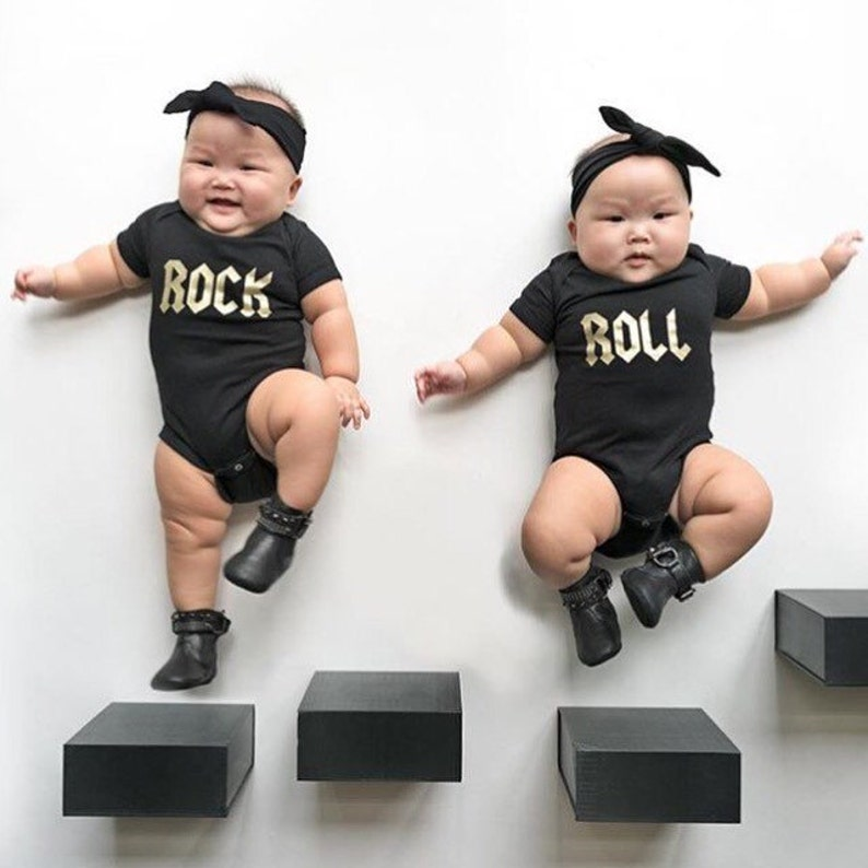 24cc7b642002 Twin Baby Gift Twins Matching Outfit Twin Bodysuits Rock