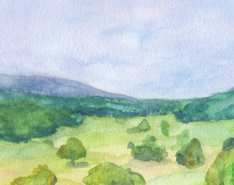 Kentucky Landscape Gouache Print