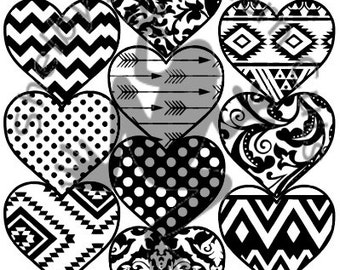 10 Heart Patterned SVG files