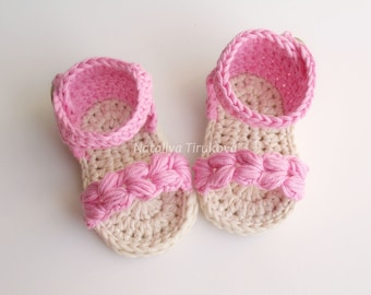 646f590299e8b6 Boho Pink Baby Girl Sandals Natural Summer Baby Shoes Crochet Baby Girl  Shoes baby sandals baby shoes New baby gift set Crochet baby gift