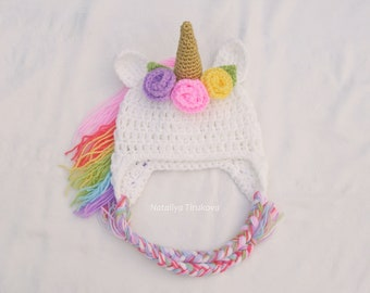 Crochet Baby Unicorn hat Unicorn hat with flowers Newborn Unicorn  Rainbow Unicorn  Hat Newborn Photo Prop Rainbow Unicorn Baby Hat e2ab58b0c1e