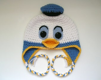 13224a3a1bd Donald Duck Inspired Beanie Donald Duck Hat  Donald Duck Baby boy hat photo  prop crochet duck hat baby shower gift disney donald duck hat