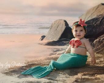 da3d004f9d49a Crochet Baby Mermaid Outfit/Mermaid Tail/Baby Mermaid prop/Toddler Mermaid  Costume/Disney/Open Tail/Mermaid Outfit/Mermaid Costume