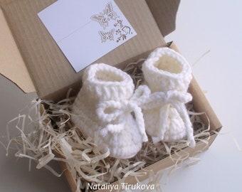 4fd447800cff White crochet baby booties Crochet slippers newborn booties baby shower gift   booties in gift box crochet baby shoes unisex baby gift
