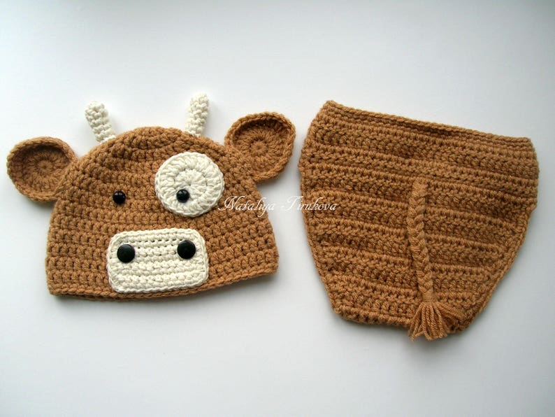 Crochet Cow or Bull Beanie Hat and Diaper Cover Crochet cow  0db65ffdadc