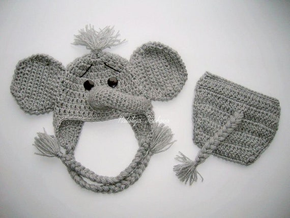 Crochet Baby Elephant Hat & Diaper Cover, You Pick Size and color ... | 428x570
