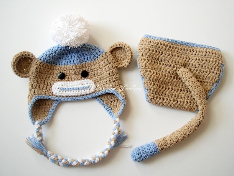 17fc02a0e8d Crochet Baby Monkey Hat   Diaper Cover with Tail Set Newborn