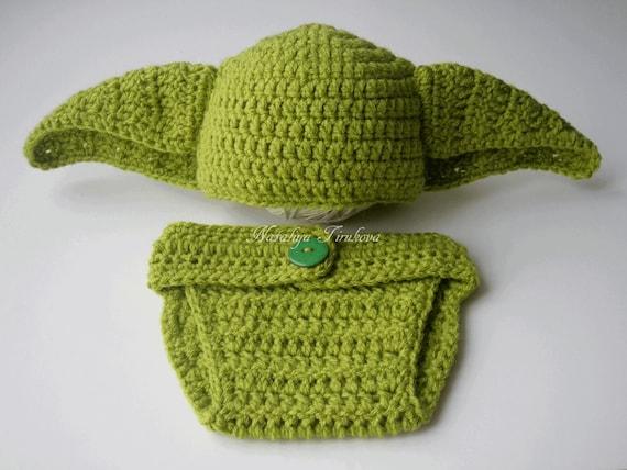 Star Wars Crochet Yoda Baby Boy Hat And Diaper Covermaster Etsy