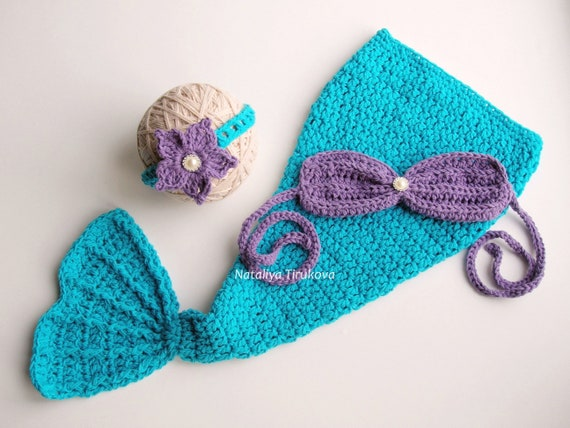 Crochet Baby Mermaid Outfit 0 5 Yearsmermaid Tailbaby Etsy