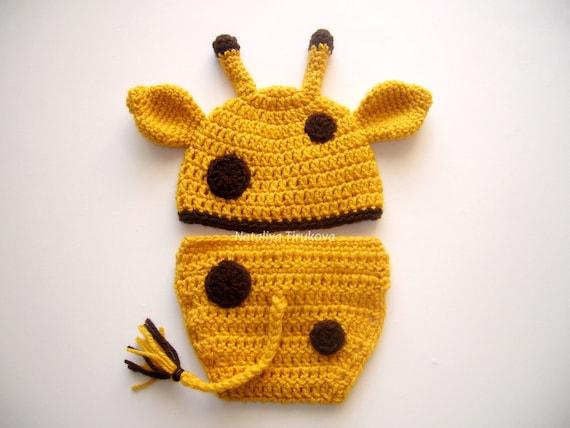 Crochet Giraffe Hat And Diaper Coverphoto Propgiraffe Etsy