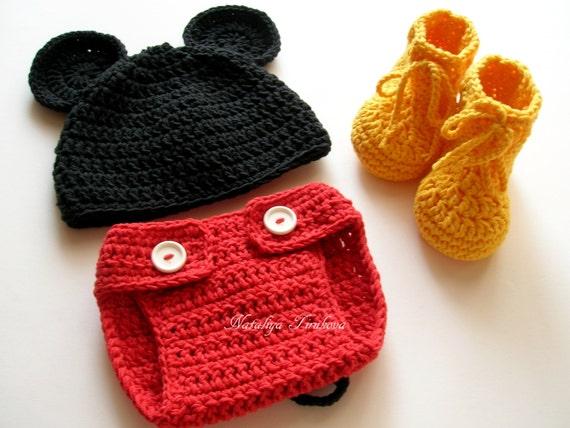 Baby Boy Häkeln Mickey Mouse Outfitmicky Maus Kostümdisney Etsy