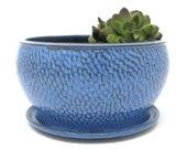 Blue Ceramic Succulent Planter, Pottery Flower Planter, Wheel Thrown Flower Pot, Garden and Patio Decor