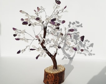 Tree of Life Amethyst with Quartz- Amethyst Gemstone Tree -tree of life wire wrapped