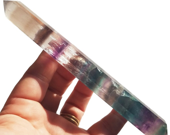 Rainbow Fluorite Crystal Point double terminated