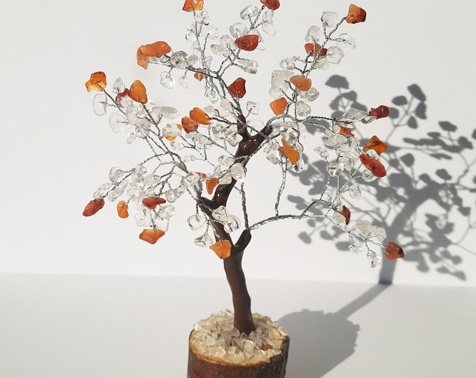 Carnelian Quartz Gemstone Tree - Tree of Life - tree of life wire wrapped