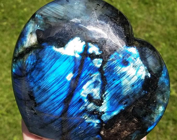 Labradorite, Large Labradorite Heart, Labradorite Stone, gemstone heart