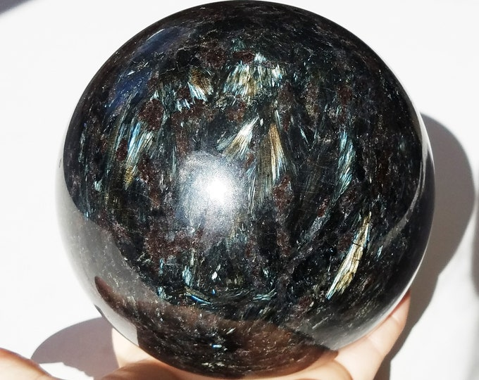 "Large Arfvedsonite Sphere 5"", Arfvedsonite  Crystal, Arfvedsonite Stone"