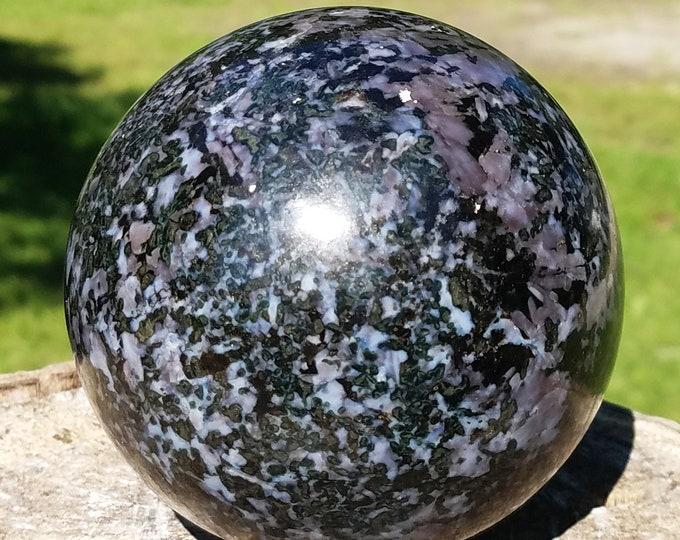 Large Mystic Merlinite Crystal Sphere, Merlinite Ball, Indigo Gabbro Crystal