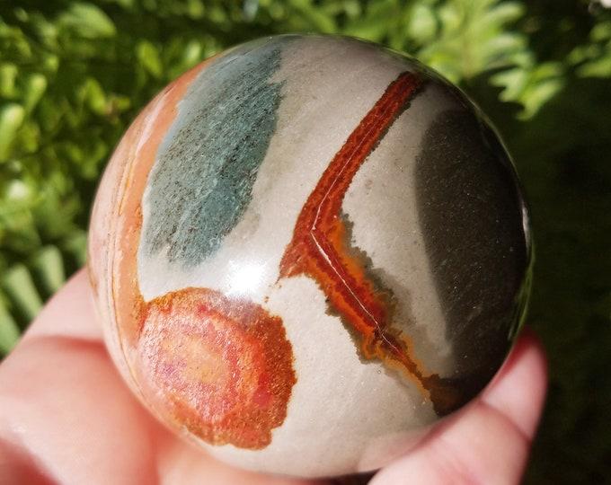 Polychrome Jasper Sphere, Desert Jasper Stone, Jasper Sphere