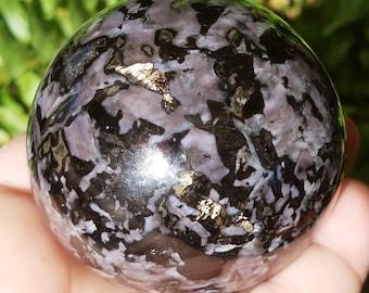 Mystic Merlinite Crystal Sphere - Indigo Gabbro Stone