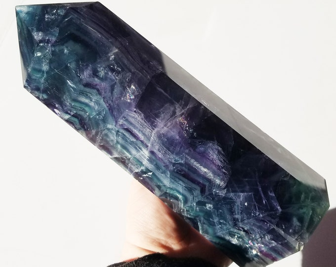 5 lb 8. 6 oz Fluorite Crystal Tower, Fluorite Obelisk, Large Fluorite Point