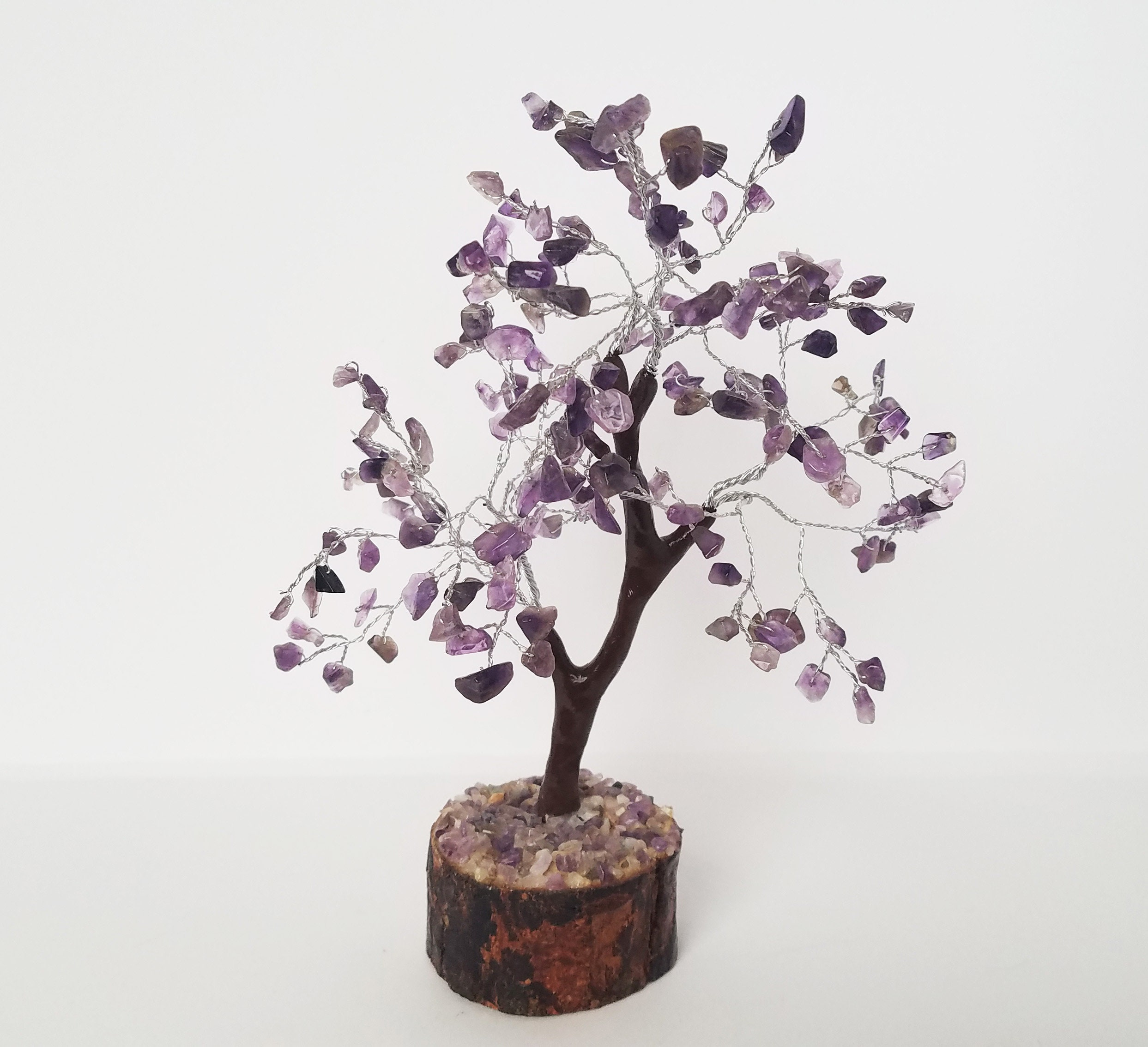 Amethyst Gemstone Tree Of Life Wire Wrapped Wiring Wisteria Bonsai Shipping